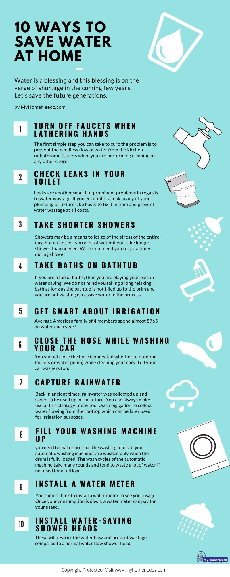 Ways to save water at home - Infographic